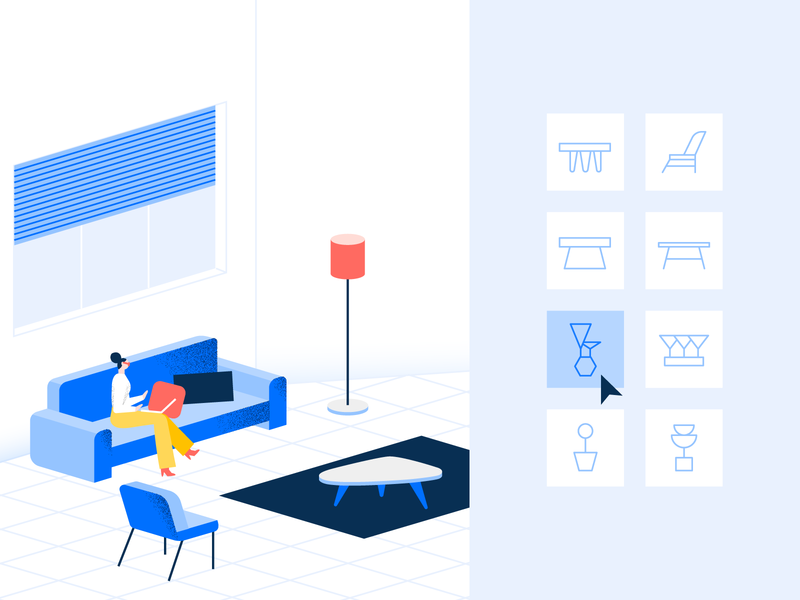 Furniture or plant? 🤔 choice furniture icons interior apartment isometry design blue character illustration