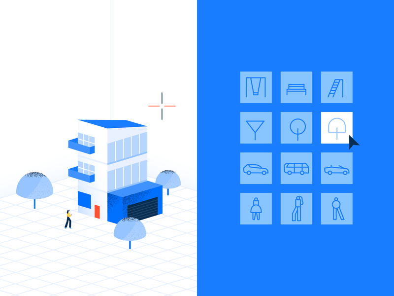 more trees! 🌳 select cursor software architecture isometric isometric illustration icons set icons vector blue design illustration