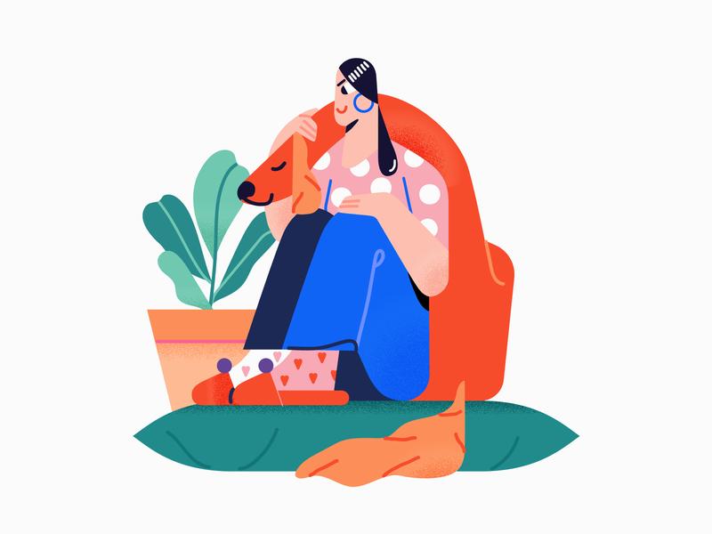 Embrace 🐕 friendship friends pet dog color vector illustration