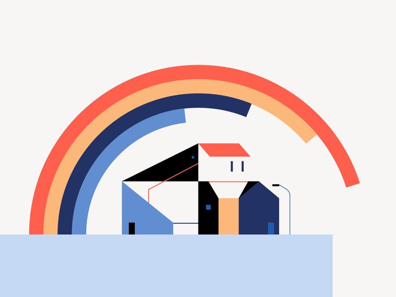🌈 city explainervideo rainbow city color vector design illustration