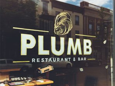 Plum Bar hand painted lettering hand lettering sign painting gold leaf