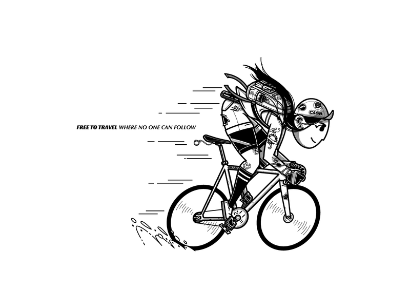 Fixie fixedgear fixie girl bicycle illustration characterdesign adobe illustrator ilustration vector