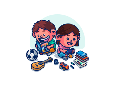 Niños girl boy kids ninos characterdesign illustration adobe illustrator vector