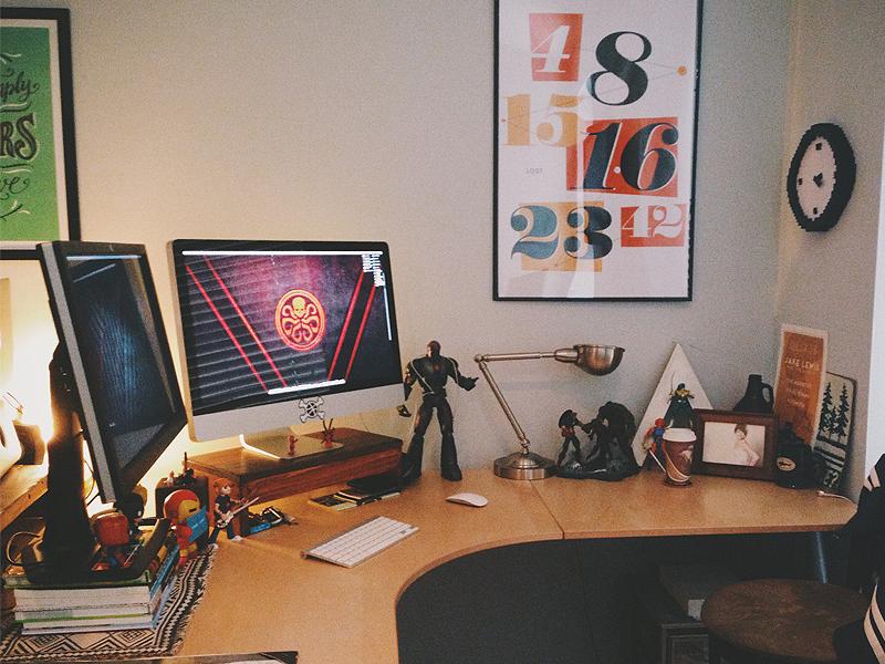 Workspace workspace design clutter toys lost marvel hydra