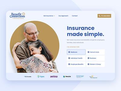Benefit Connections | Insurance Landing Page ui branding design layout website logo