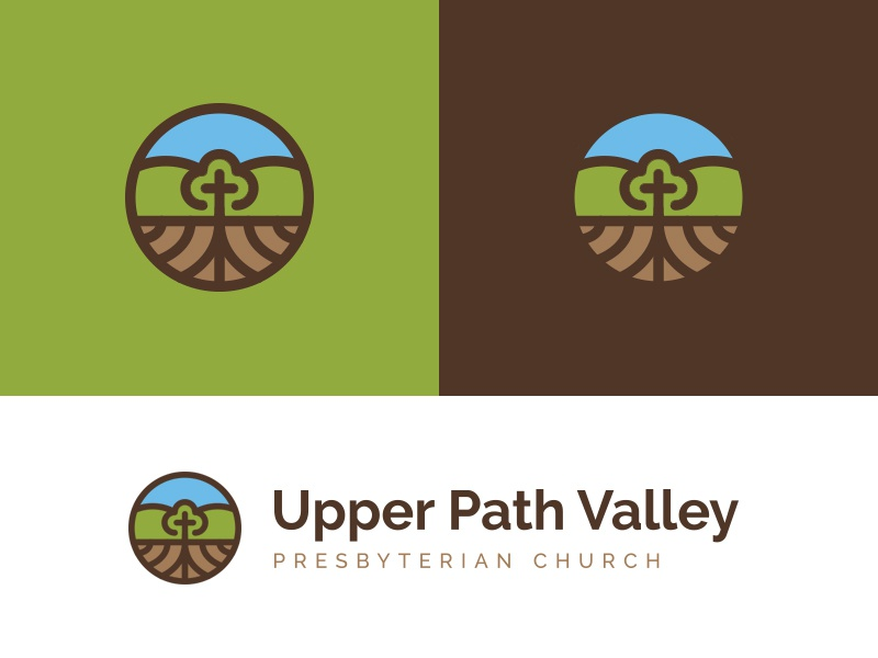 UPV logo mountains roots cross icon church identity mark logo
