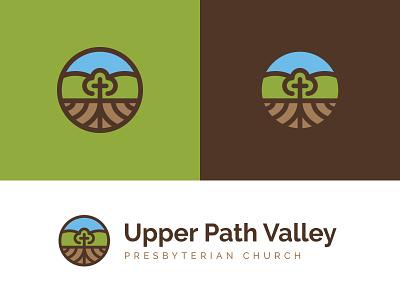 UPV logo mountains roots cross icon church identity mark logo
