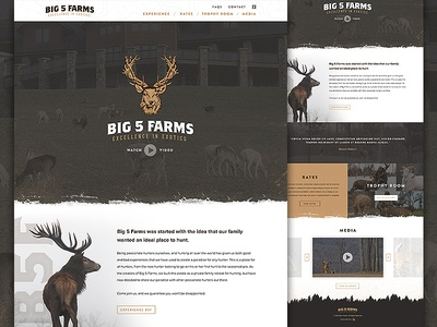 Big 5 Farms wildlife outdoors landing grid layout website deer resort game hunting