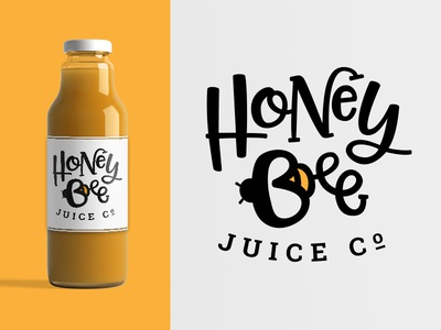 Honey Bee Juice Co. organic natural bee honey juice identity mark logo