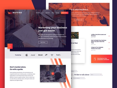 Wayfind marketing gradient grid layout website