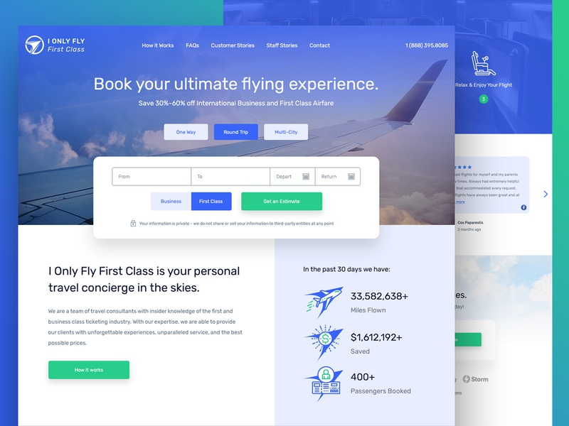 I Only Fly First Class concierge booking flight website layout website design wip