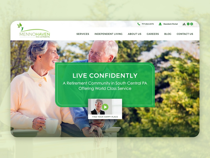 Menno Haven - Retirement Community Website re design senior rehab nursing home retirement website layout website