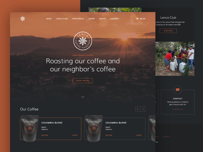 Lenca Coffee Roasters packaging layout green bean roaster coffee website design