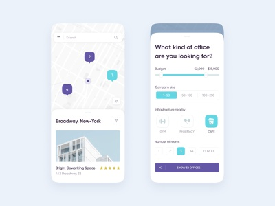 Office Real Estate iOS App app mobile ios clean flat filter map office real estate design ux ui