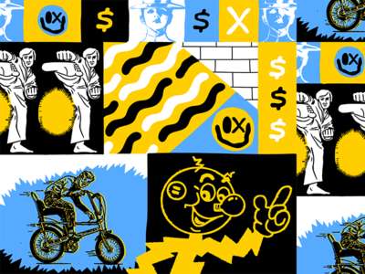 Keep Ya Head Up karate bike icons illustration pattern