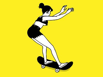Skater on Yellow woman figure skateboarding art skating skateboarding