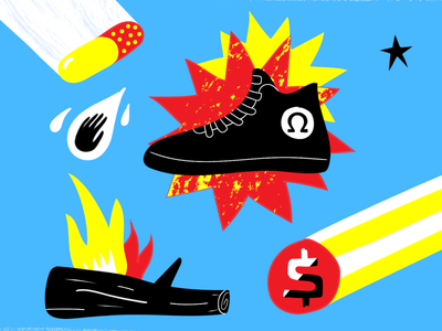 Omega vector art illustration icons fire shoes