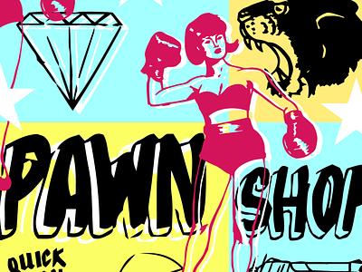 Pawn Shop pattern pawn vegas boxing panther diamond vintage