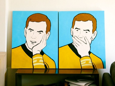 Captain Kirk meme star trek acrylic painting meme