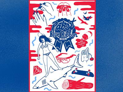 PBR can beer branding summer art logo beer