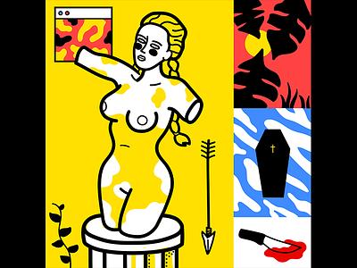 L'eggo my Ego greek art vector statue icons illustration