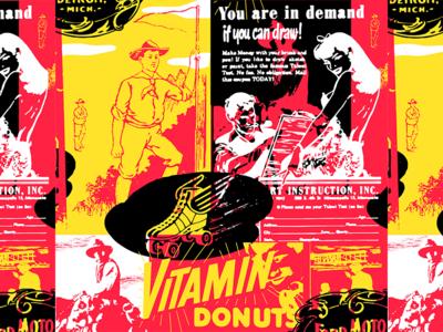 Vitamin Donuts advertising 60s 50s cowboy vintage pattern americana
