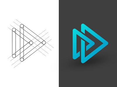 Intree Media branding play tree gradient logo