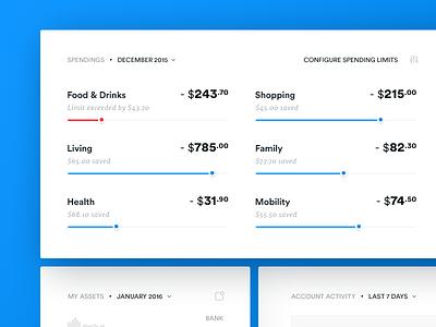 Bank Account Spendings Widget activity dataviz dashboard datavisualization banking account statistics bank spendings savings ui userinterface