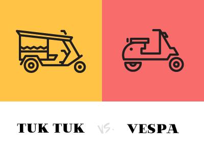 Tuk Tuk vs. Vespa vespa tuktuk travel pictogram icon iconset lineart illustration villa didot transport