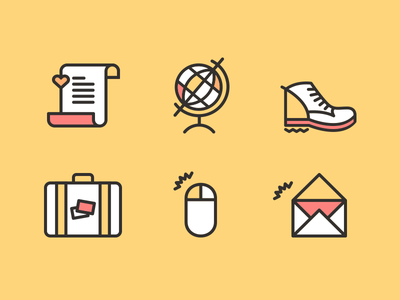 Travel Manifesto Icons icons iconography mark brand logo travel suitcase bag email envelope globe mouse manifesto script shoe hiking heart letter branding