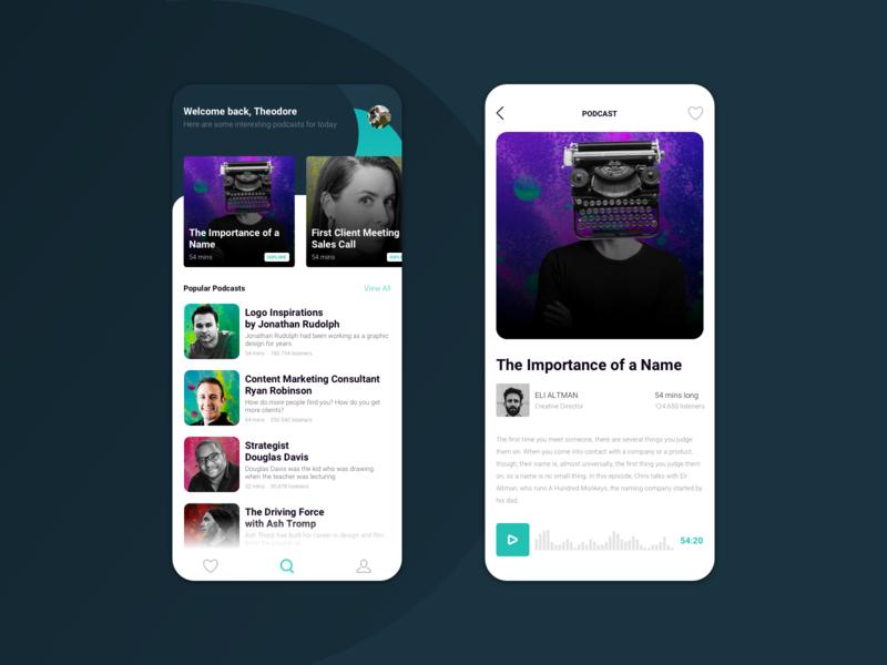 Podcast Application clean ux dark user interface design application interface ui app minimal simple sound wave soundwave sound audio app audio podcast art podcasting podcasts podcast