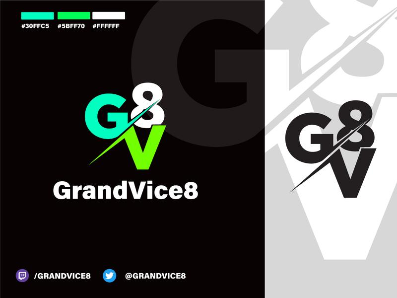 GrandVice8 Logo   Gaming / Streamer logo design iowa des moines game gaminglogo gaming logo gv logo gv 8 vice grand twitch streamer gaming