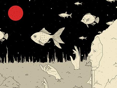 Red Moon moon sculpture fish photoshop illustration drawing design art