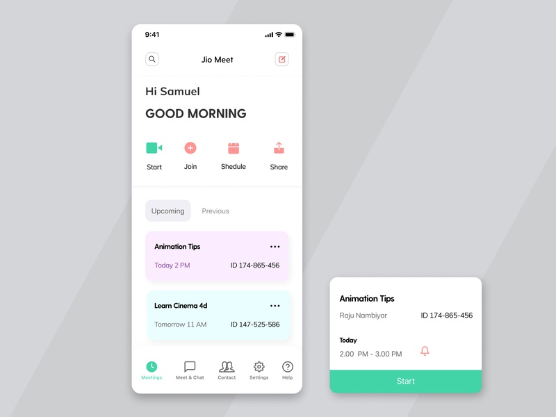 Jio Meet Redesign zoomredesign redesign jiomeet jio adobexd tribute welcome upcoming zoom meeting mobile ui mobile app dailyui uiux ui figma design