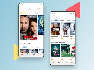 Movie mobile app 3d art colorful color love awesome trending popular mobile app movies netflix and chill prime 3d cinema4d figmadesign dailyui uiux ui figma design