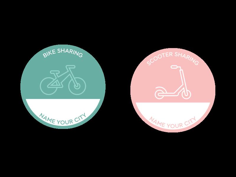 E-Bike and E-Scooter Icon sticker vector scooter ebike sharing design icon