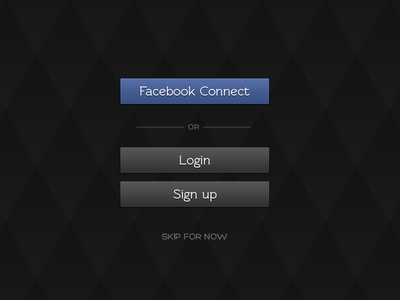 App Login Screen login facebook connect signup clean splash dark ios app login