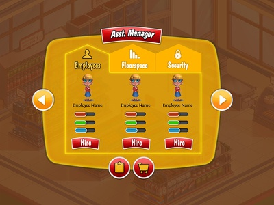 Game UI game tab button popup orange icon