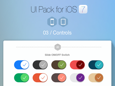 UI Pack for iOS 7 - Build Apps. Beautifully!  ios7 ui flat navigation controls tabs switches button segment iphone ui kit