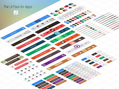 Flat UI Pack for iOS7 Apps app ios7 iphone ui navigation tabbar switches slider segment button ipad flat