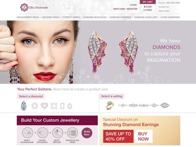Web Design - Draft for Diamonds Company webdesign website design ui diamond jewellery flat user interface
