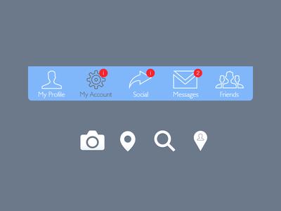 Tab+Icon ios iso7 ui tab blue icon notification app flat interface