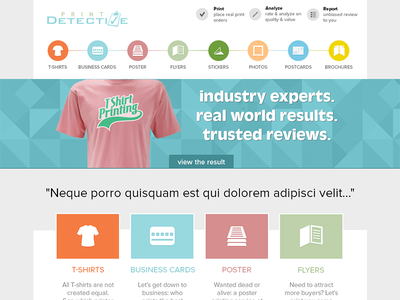 Print Detective - UI web layouts website icons ui user interface flat colourful t-shirt homepage
