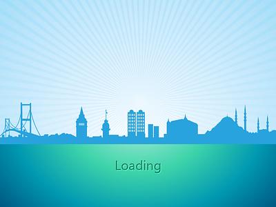 App Landing Page app landing page city loading app clean blue starburst iphone app