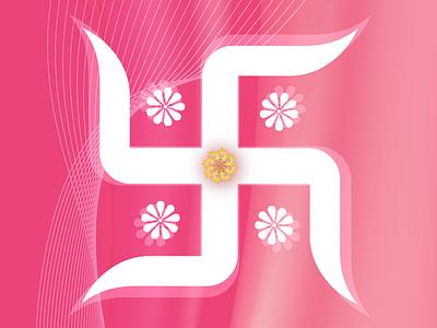 Swastik - स्वस्तिक spiritual swastika shakti sign of god pink