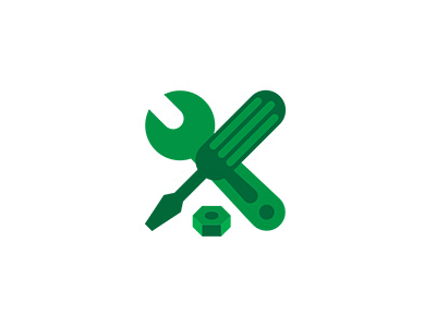 Icon for web tool maintenance green icon simple bolt settings screwdriver