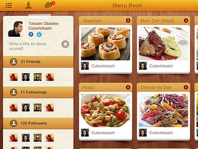 Menu Book restaurant app ipad food orange menu ipad app clean ui