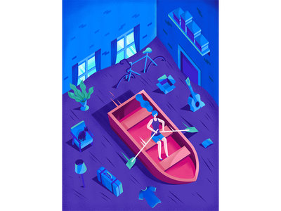 """I never throw anything out"" house room boat bike magazine psychology woman isometric illustration"