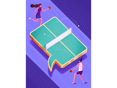 """The master of repartee"" talking sport play tabletennis pingpong magazine psychology woman isometric illustration"