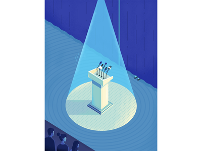 """The fear of public speaking"" speaking public graphic design magazine psychology woman isometric illustration"
